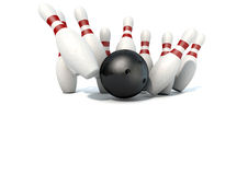 Tio Pin Bowling Pins And Ball Arkivfoto