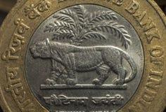 Tio rupie mynt som utfärdas av Indiens regeringen Royaltyfria Foton