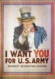 Tio Sam eu quero-o para o U S Cartaz do recrutamento do exército pelo doce Imagens de Stock Royalty Free
