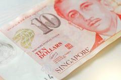 Tio Singapore dollar med en anmärkning 10 dollar Royaltyfria Foton