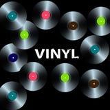 Tio vinylrekord på en svart bakgrund stock illustrationer