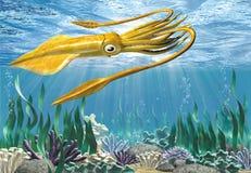 tioarmad bläckfisk 3d royaltyfri illustrationer