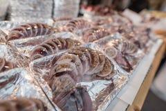 Tioarmad bläckfisk som stoppas med ris i en marknad arkivfoto
