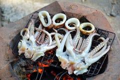 Tioarmad bläckfiskgaller på ugnen arkivfoto