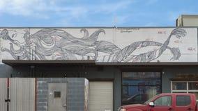 tioarmad bläckfiskskägg för 42 väggmålning av Jim Hastings, djupa Ellum, Texas Royaltyfria Bilder