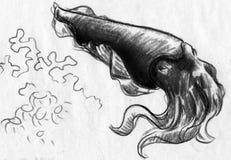 Tioarmade bläckfisken skissar Royaltyfri Bild