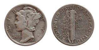 Tiocentaren myntet för tio centUSA försilvrar båda sidor som isoleras på vit arkivbilder
