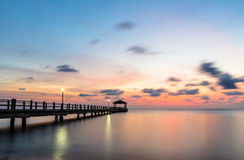 Tioman island jetty. A long exposure at sunset of a jetty in Pulau Tioman in Malaysia Royalty Free Stock Photography