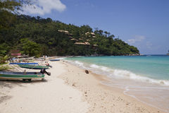 Tioman Island, Malaysia. MARCH 26: Kampung Salang beach in  on March 26, 2012. Kampung Salang is one of the protected coral reef area on Tioman Island stock images