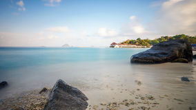 Tioman island in Malaysia. A view of jetty with boats in Tioman island on 28th May 2013 Stock Images