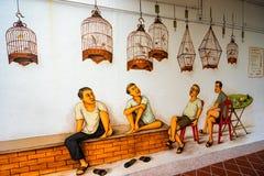 Tiong Bahru gatakonst eller grafitti på väggen Arkivbild