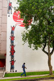 Tiong Bahru gatakonst eller grafitti på väggen Fotografering för Bildbyråer