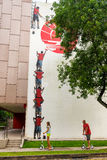 Tiong Bahru gatakonst eller grafitti på väggen Arkivfoton