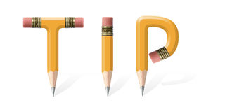 Tip. Yellow wooden pencils formed to spell Tip word over white background Royalty Free Stock Images