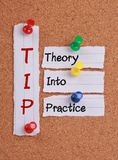 理论到实践(TIP首字母缩略词)里 免版税图库摄影