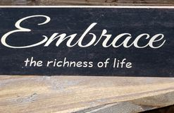 Free Tip About Embrace The Richness Of Life Print On Wall Royalty Free Stock Image - 120264636