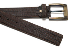Tip and Buckle of Brown Faux Leather Belt Stock Images