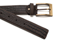 Tip and Buckle of Faux Crocodile Leather Belt Royalty Free Stock Image