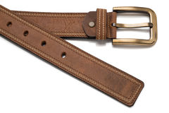 Tip and Buckle of Light Brown Faux Leather Belt Royalty Free Stock Photo