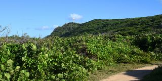 Tip of castle in guadeloupe. View on tip of castle on saint francois in guadeloupe royalty free stock photography