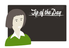 Tip of the day. Illustration of teacher standing with blackboard near by and giving tip for a day Stock Photo
