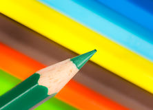 Tip of a green wooden pencil Royalty Free Stock Image