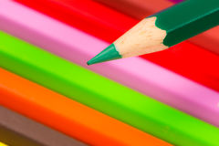 Tip of a green wooden pencil Stock Photo