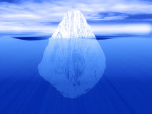 The tip of the iceberg. 3D render of an iceberg partially submerged in water - can be used for tip of the problem concepts Royalty Free Stock Photo