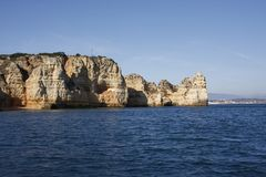 Cliff located in Portugal, seen from the sea stock photo