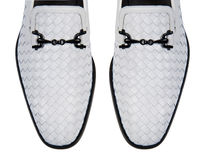 The tip of male shoes on white Royalty Free Stock Photo