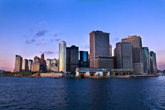 Tip of Manhattan. View towards the southern tip of Manhattan from the ferry royalty free stock photography