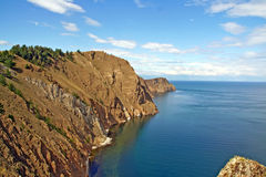 Tip of Olkhon island surrounded by Lake Baikal, Russian Siberia Royalty Free Stock Image