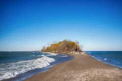 Tip of Point Pelee National Park beach in the fall at sunset tim Stock Photo