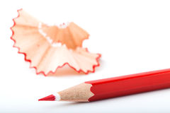 Tip point of red pencils royalty free stock photo