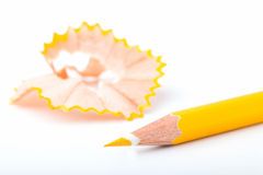 Tip point of yellow pencils Royalty Free Stock Image
