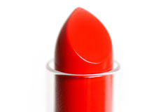 The tip of the red lipstick. Macro. Closeup. Isolated on a white Stock Photography