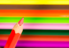 Tip of a red wooden pencil Stock Photography