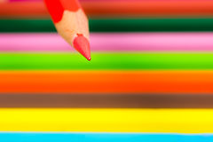 Tip of a red wooden pencil Stock Image