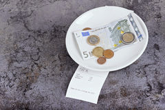Tip on a restaurant table Stock Photography