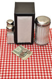 Tip on Table at Restaurant Stock Image