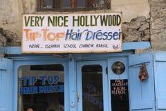 Tip Top Hair Dresser. Advertisement for hair-dresser in Leh, Ladakh stock photo