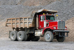 Tip truck. Diesel tip truck in quarry stock images