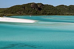 Tip of Whitehaven Beach. Whitehaven Beach in the Whitsunday Islands, Queensland Stock Images