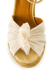 Tip of woman shoes isolated on white Royalty Free Stock Images