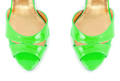 The tip of woman shoes isolated on white Stock Photo