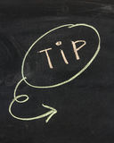 Tip word. And sign drawn on the chalkboard Stock Photos
