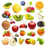 Tipe diferente dos frutos isolados Fotografia de Stock