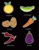 Tipi del fumetto sei di verdure illustrazione vettoriale