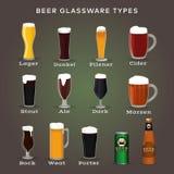 Tipi della birra Vetri e tazze con i nomi royalty illustrazione gratis