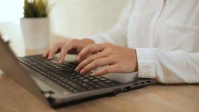 Tipi della donna sul computer portatile stock footage